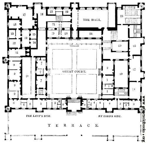 Plan Of Buckhurst House, Sussex In 2019