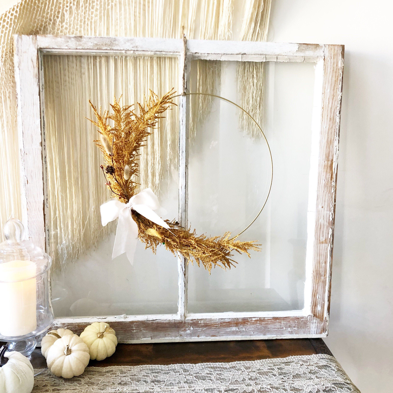 Photo of 14″ Fall Hoop Wreath, Modern Autumn Wreath, Holiday Wreath, Fall Farmhouse Wreath, Modern Wreath, Farmhouse Style Wreath