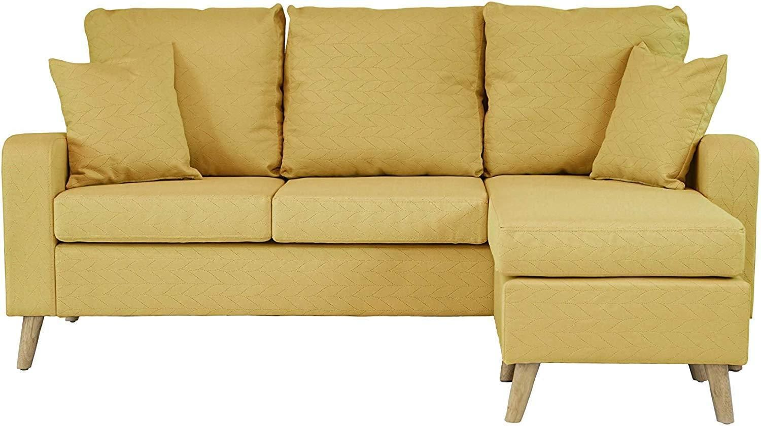 L Shaped Small Sectional Couch Yellow In 2020 Small Sectional Couch Small Sectional Couch