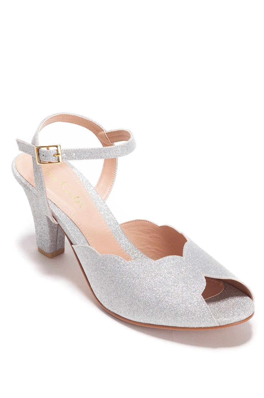 7d3e05fb2de16 Adina Vegan Bridal Shoes, Sparkling Silver High Heel Wedding Sandal ...