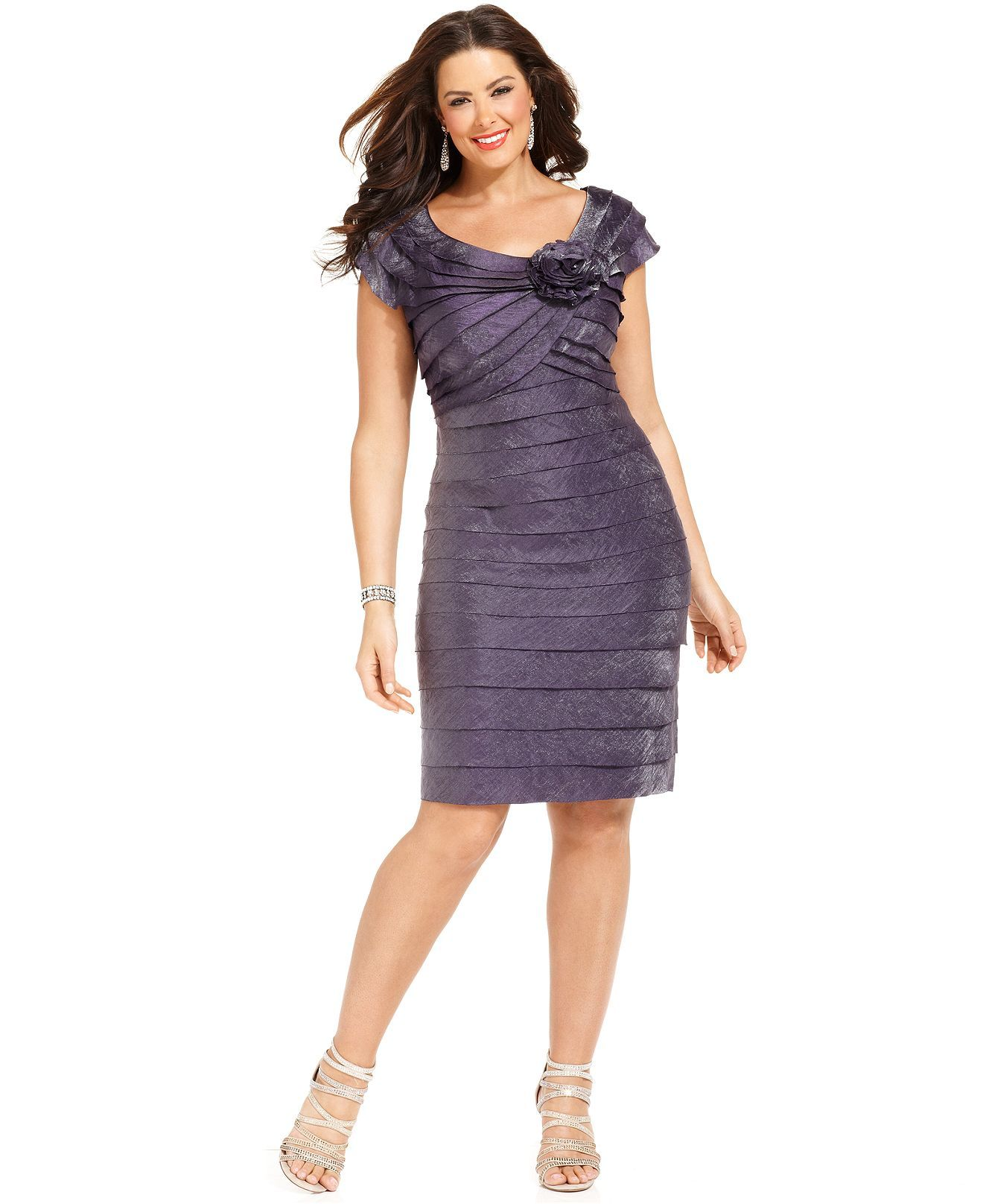 london times plus size dress, rosette cocktail dress - plus size