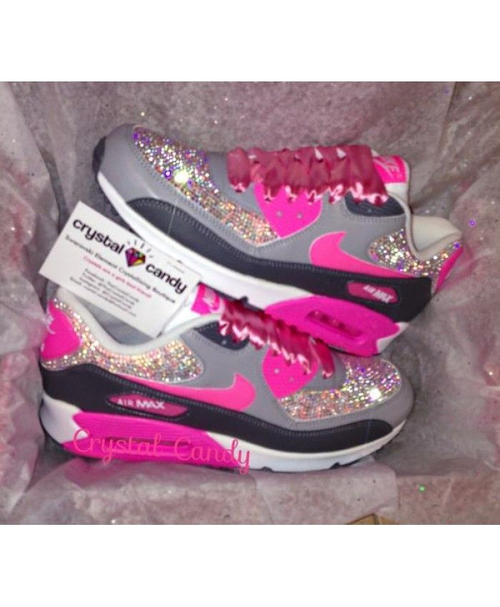 Air Max 90 Crystal Leather Grey Pink Black Trainer In the spring to choose  your pink 90 style ba2cec8c24