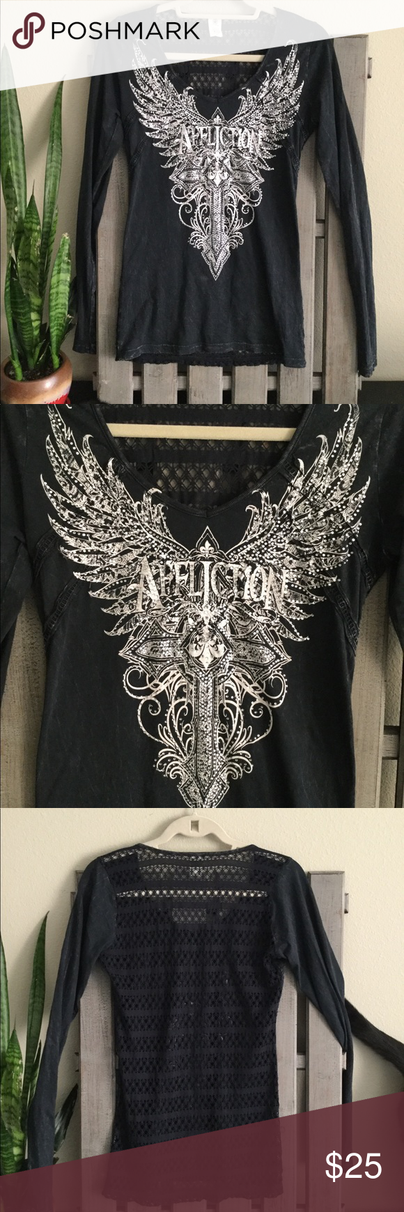 Affliction long sleeve tee lace back detailing my posh picks