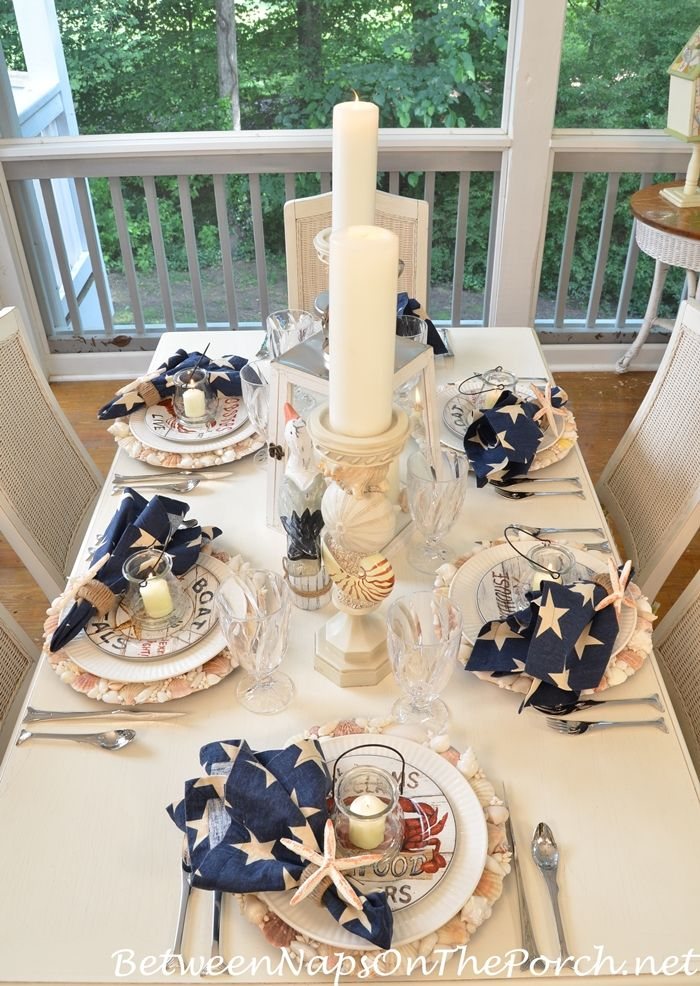 Nautical Tablescape With Shell Chargers And Fish Flatware Thanksgiving Table Settings Place Settings Thanksgiving Table Settings