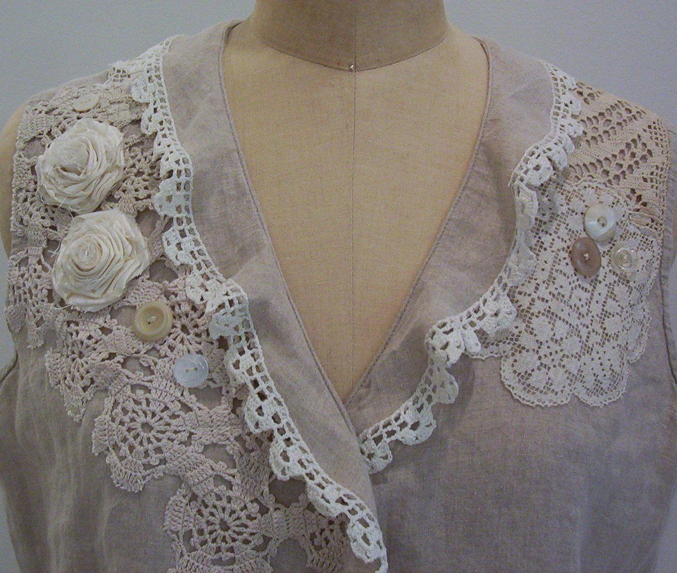 Linen Blouse with Vintage Lace