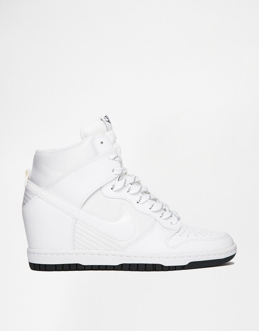 the best attitude 09551 a9eb4 Image 1 of Nike Dunk Sky Hi Essential White Wedge Trainers