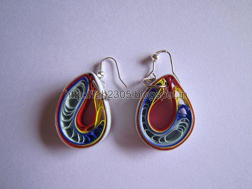 Handmade Jewelry - Teardrops Paper Earrings (Jaali-Maroon-Yellow-Blue)