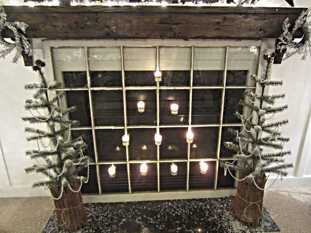 old windows hristmas | Put an old window in front of the fireplace ... | Christmas/ gift wra ...
