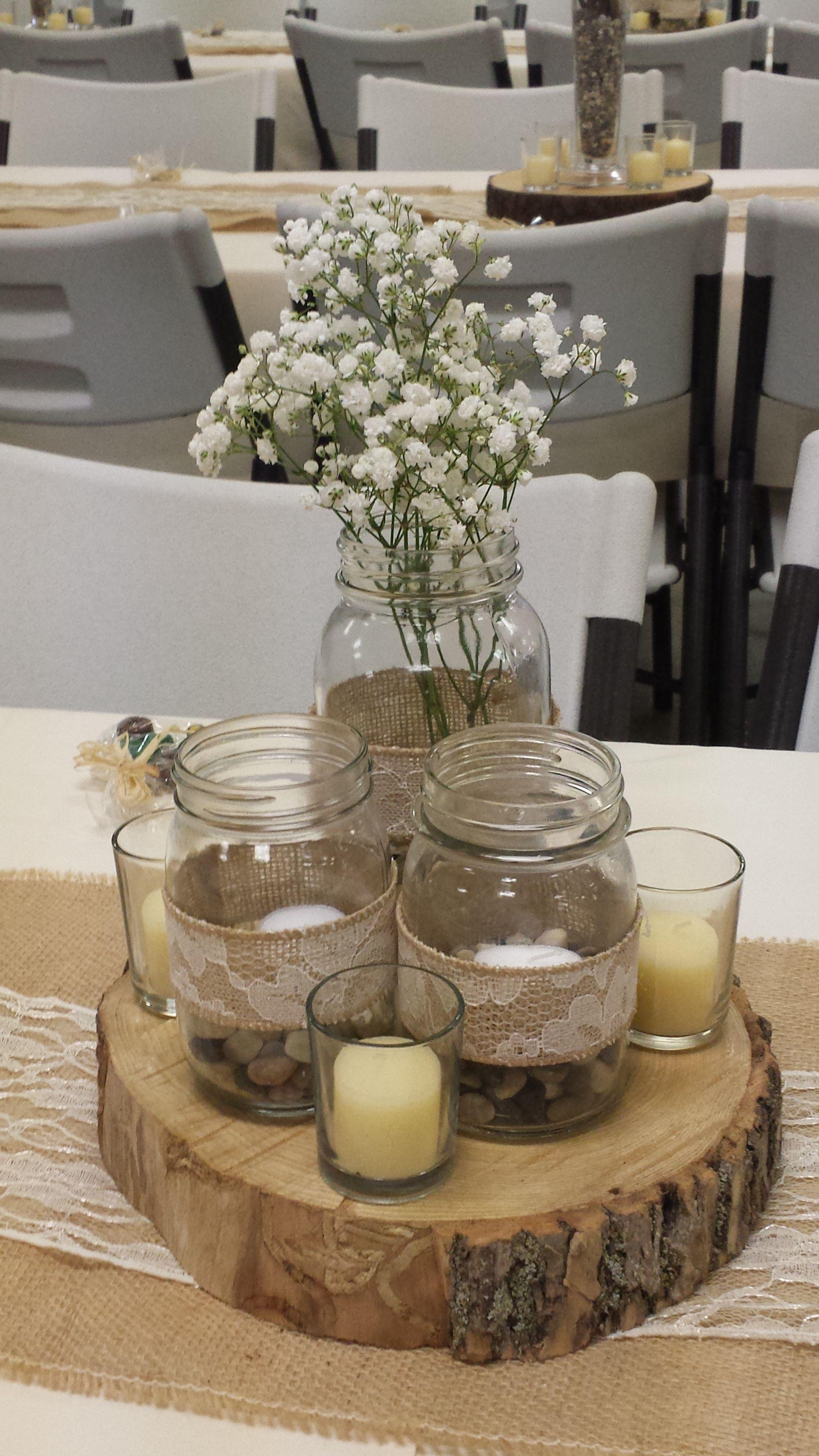 Rustic wedding centerpiece mason jar with