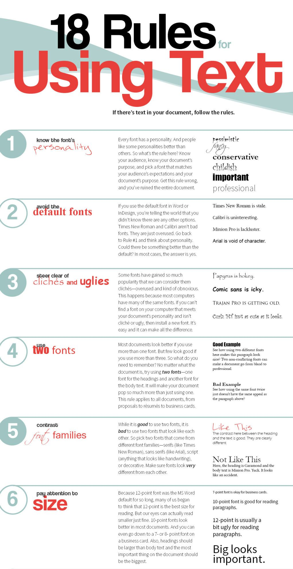 18 Rules For Using Text In Your Work #graphicdesign