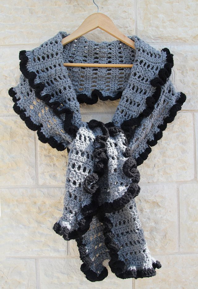 Crocheted Ruffled Edge Shawl Scarves Wraps Crochet Ruffle Scarf