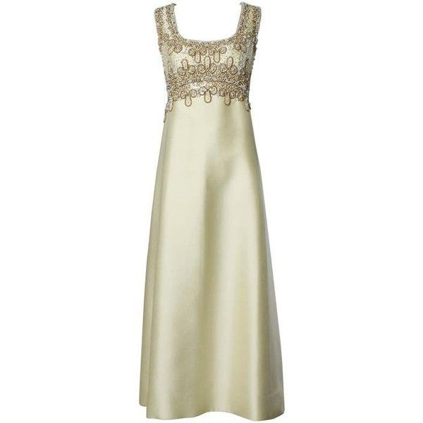 Preowned 1960s Heavily Beaded Silk Shantung Evening Gown ($650 ...