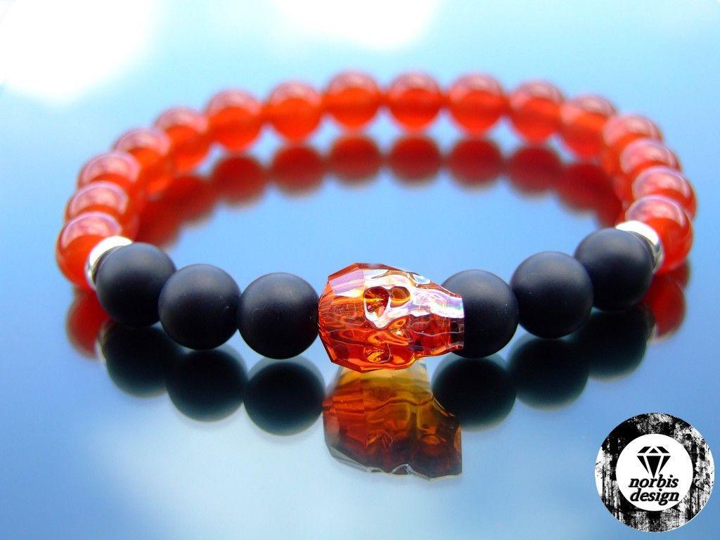 2a86bf005d55 Swarovski Red Magma Crystal Skull Red Onyx Onyx Matte Bracelet ...