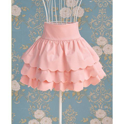 Vintage Solid Color High-waisted Ruffle Skirt For Women