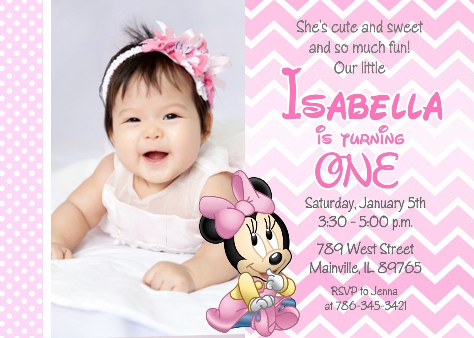 Greeting Cards And Invitations Minnie Mouse First Birthday - 1st birthday invitation greeting card