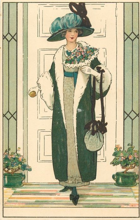 señora atractiva en traje de color verde / blanco está sosteniendo manija de la puerta con la mano derecha