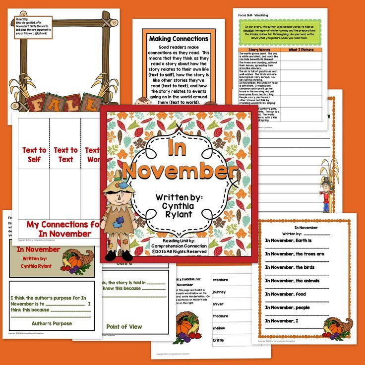 In November by Cynthia Rylant Activities in PDF and
