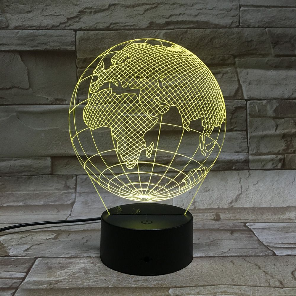 3d Globe Visual Led Lamp 7 Colors Acrylic Plate Optical Plug Night Light Led Lamp Lamp 3d Led Lamp