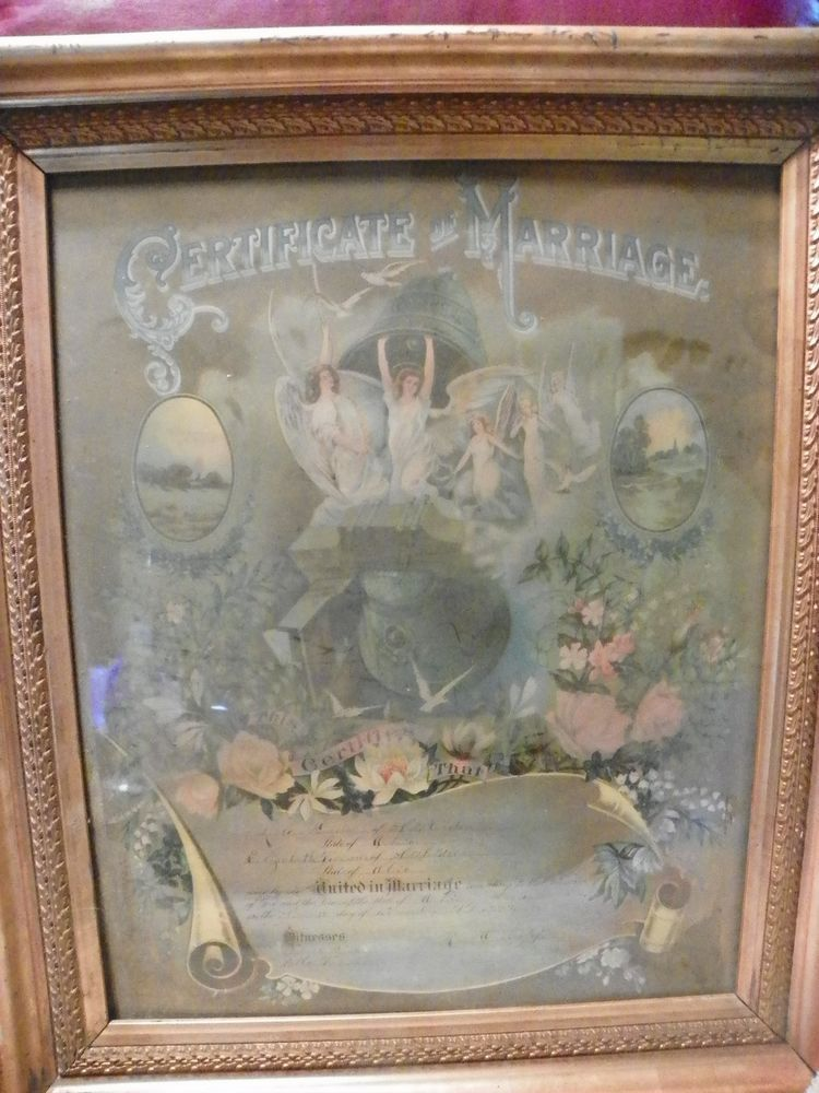 Antique Marriage Certificate Framed Picture 1893 Relics And The