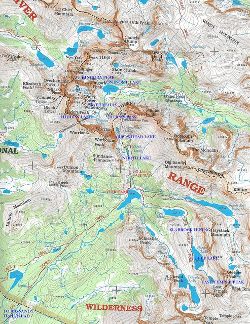 Wind River Range Wyoming Map.A Good Map And A Map Similar To The Map I Used Last Year On My