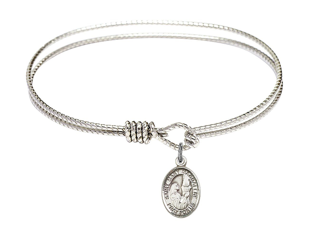 Cross Charm On A 7 1//2 Inch Round Double Loop Bangle Bracelet