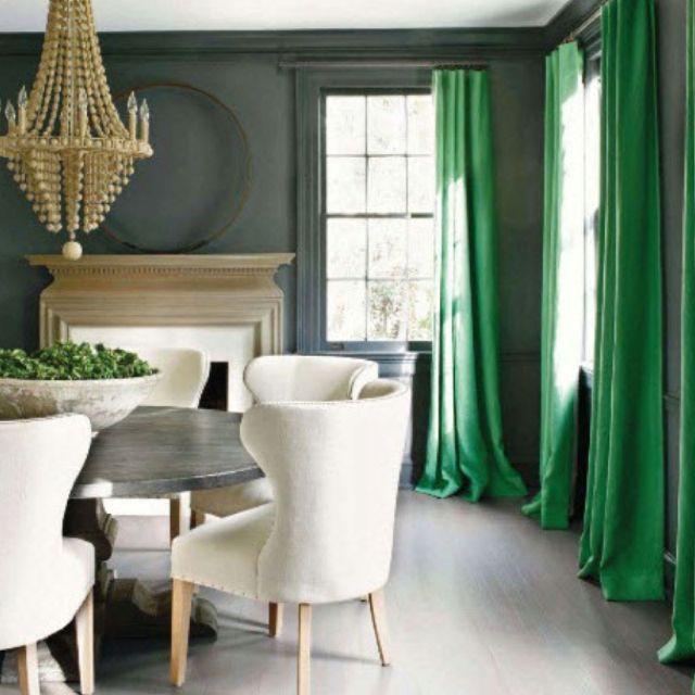 Emerald Green Curtains U0026 Charcoal Walls. Moody.