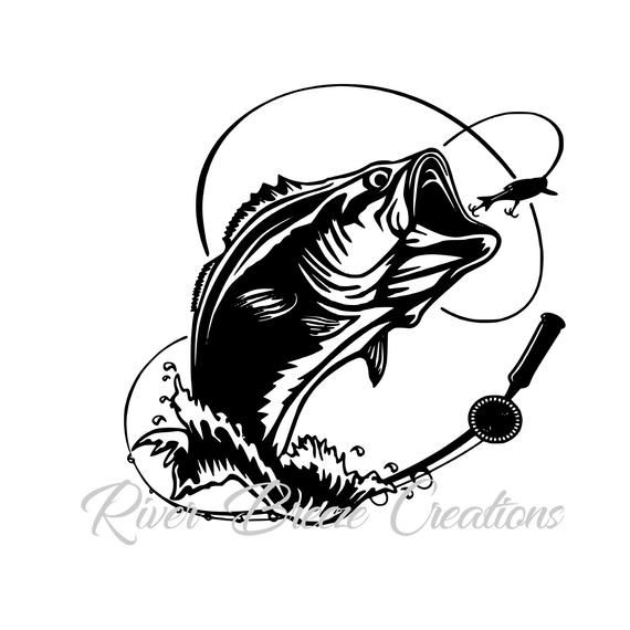 Bass Fish Svg Silhouette Svg Cricut Svg Large Mouth Fish Svg Svg File For Cricut And Silhouette Fishing Svg Fish Jumps Fish Logo