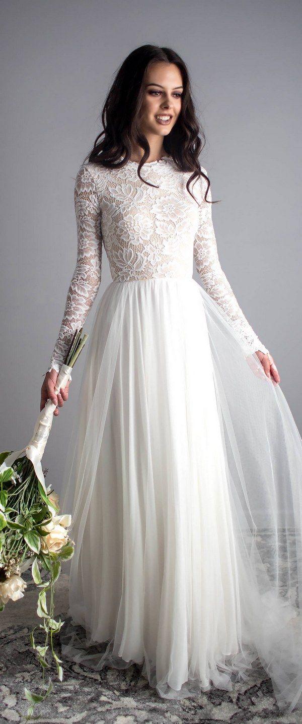 Scoop Back Long Sleeve Wedding Dress  Brautkleid langarm, Braut