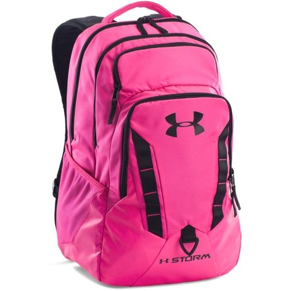 Under Armour Women's UA Storm Recruit Backpack ($65) ❤ liked on Polyvore featuring bags, backpacks, rebel pink, under armour, under armour backpack, laptop rucksack, pink backpack and backpacks bags