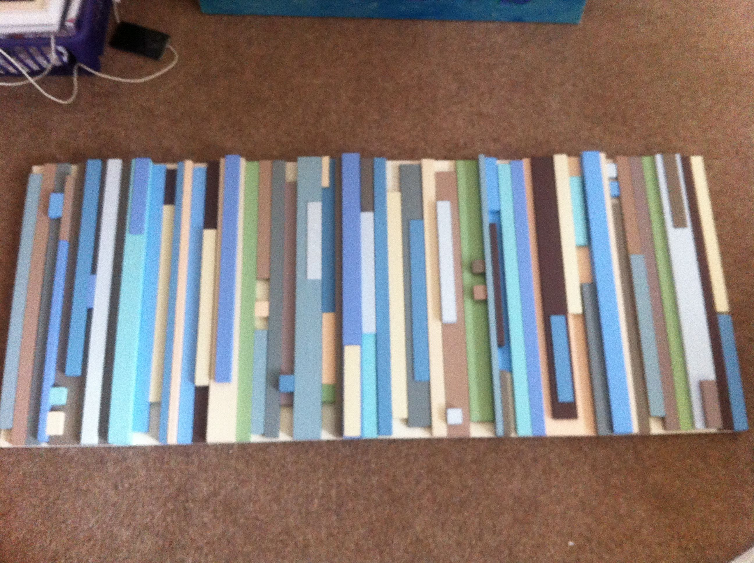 Wooden wall art for my brown blue and cream living room made