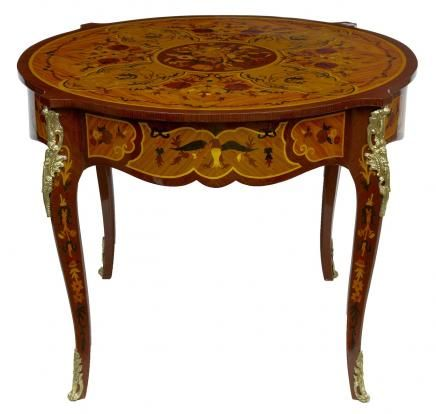 Louis XV Round Centre Table Marquetry Inlay French Furniture. This Really  Is A Work Of