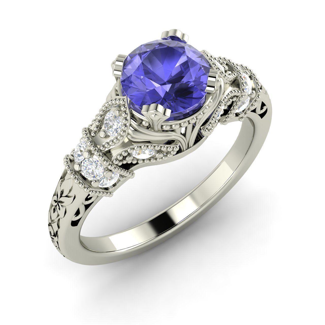 Natural genuine tanzanite u si diamond engagement ring in platinum