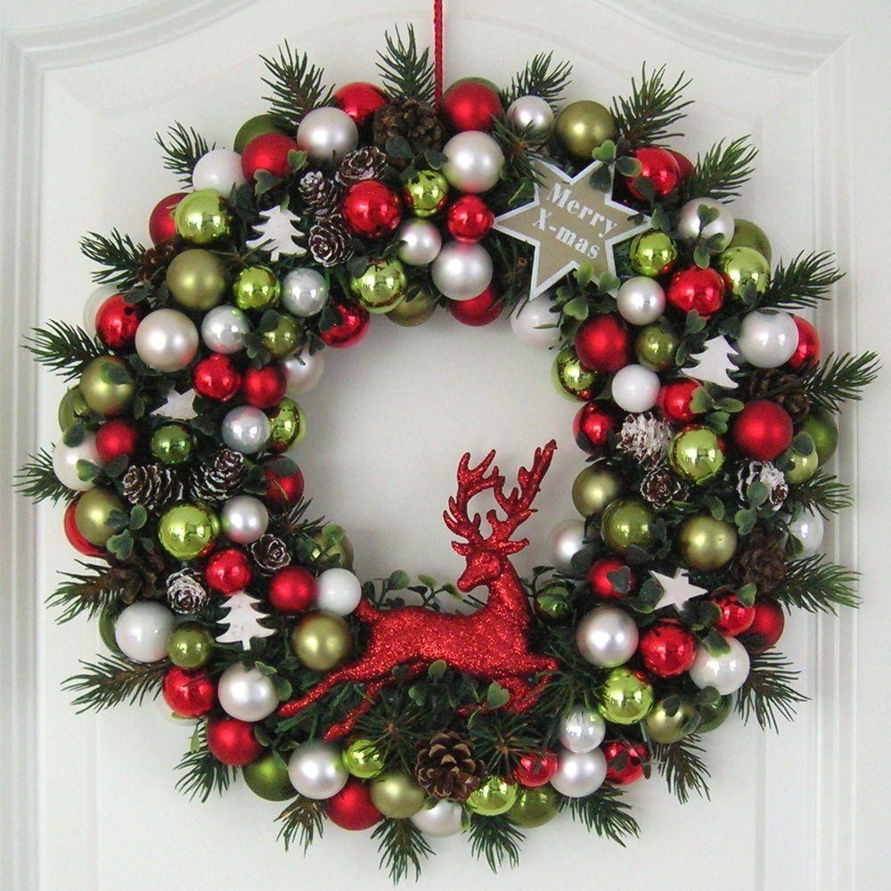 t rkranz weihnachten rot wei gr n 33cm kugelkranz kranz tanne weihnachtskranz christmas. Black Bedroom Furniture Sets. Home Design Ideas