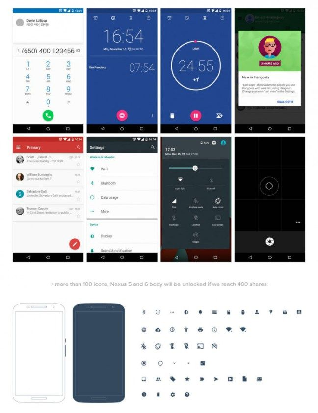 android lollipop ui design kit freebie free psd files freebies