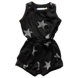 Zwarte playsuit met grijze sterren - Nununu