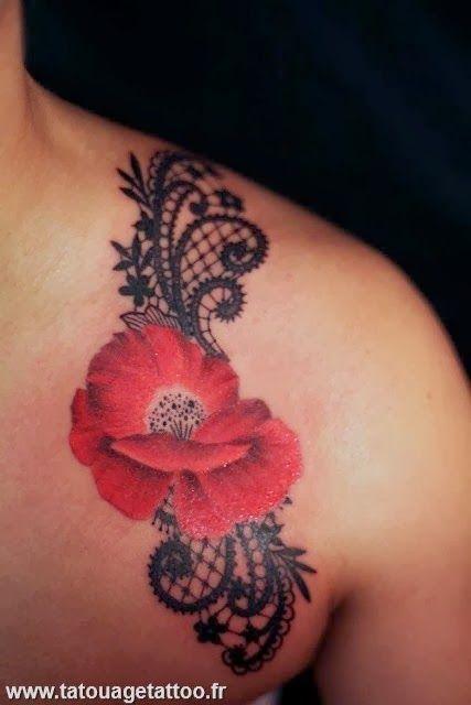 cover tatouage tatouage paule idees tatouage pavot dentelle essayer projets femmes. Black Bedroom Furniture Sets. Home Design Ideas