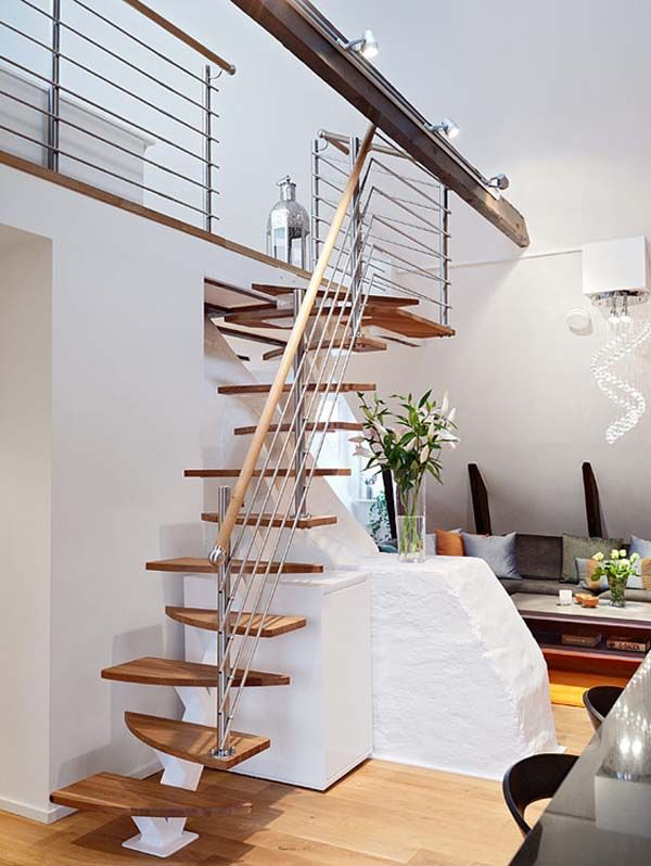 Delightfully Bright Apartment Expresses Love For Small Spaces Stairs Design Staircase Design Bright Apartment