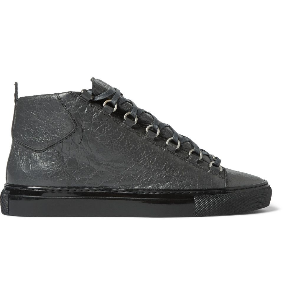 db10e9c0591d Balenciaga Creased-Leather Arena Sneakers in Gray for Men