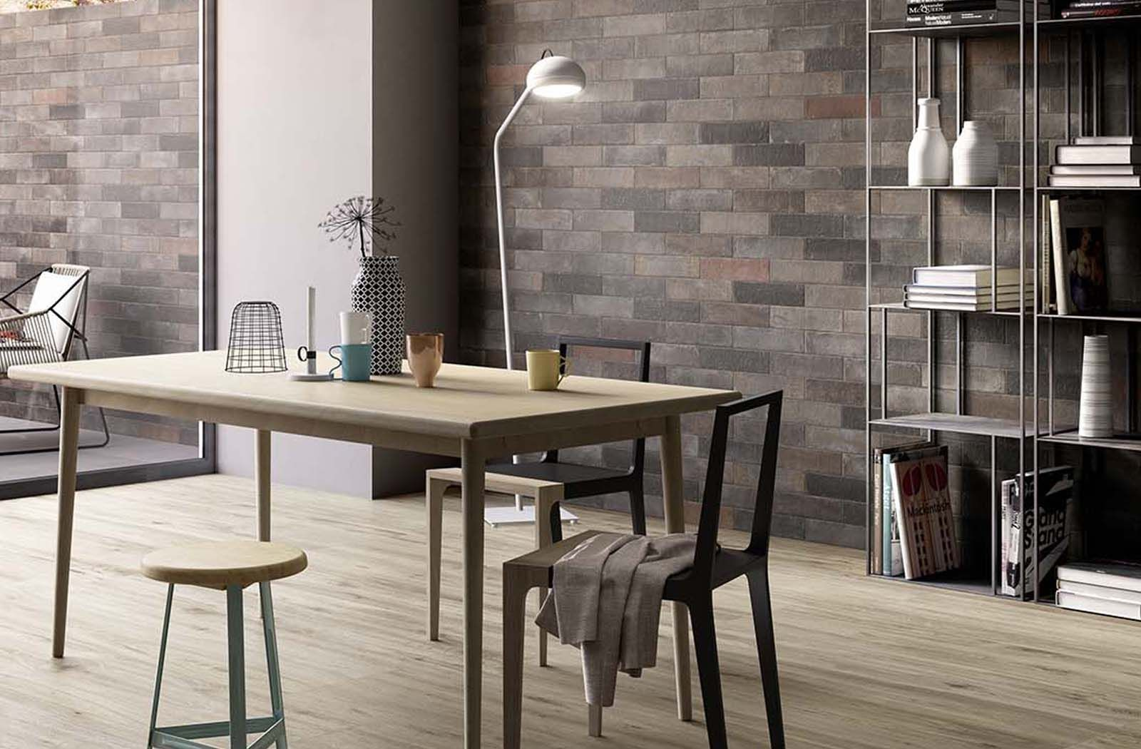 Modern Scandinavian dining area concept with brick feature ...