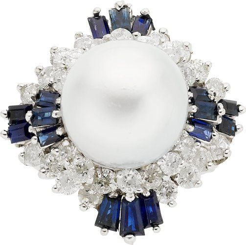 South Sea Cultured Pearl, Diamond, Sapphire, White Gold Ring.