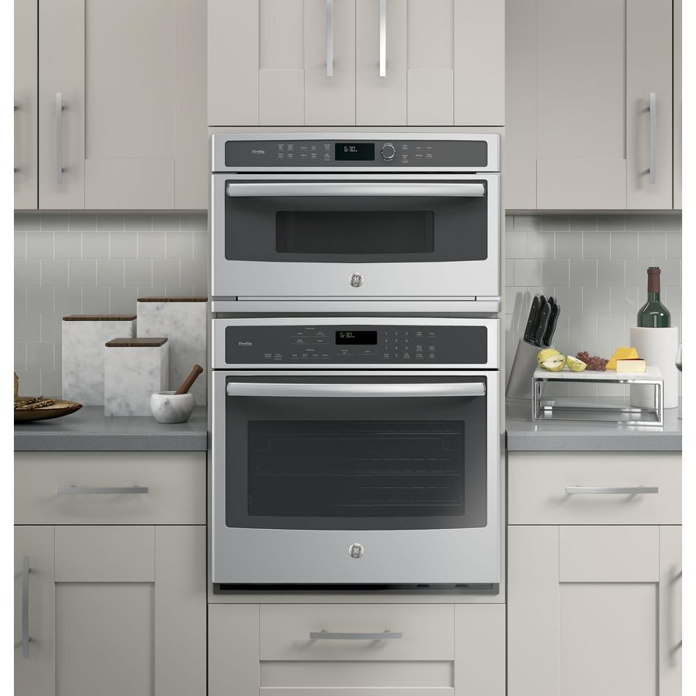 Ge Profile 30 In Electric Convection Wall Oven With Built In Microwave In Stainless Steel Pwb7030slss The Home Depot In 2020 Wall Oven Built In Microwave Microwave Convection Oven