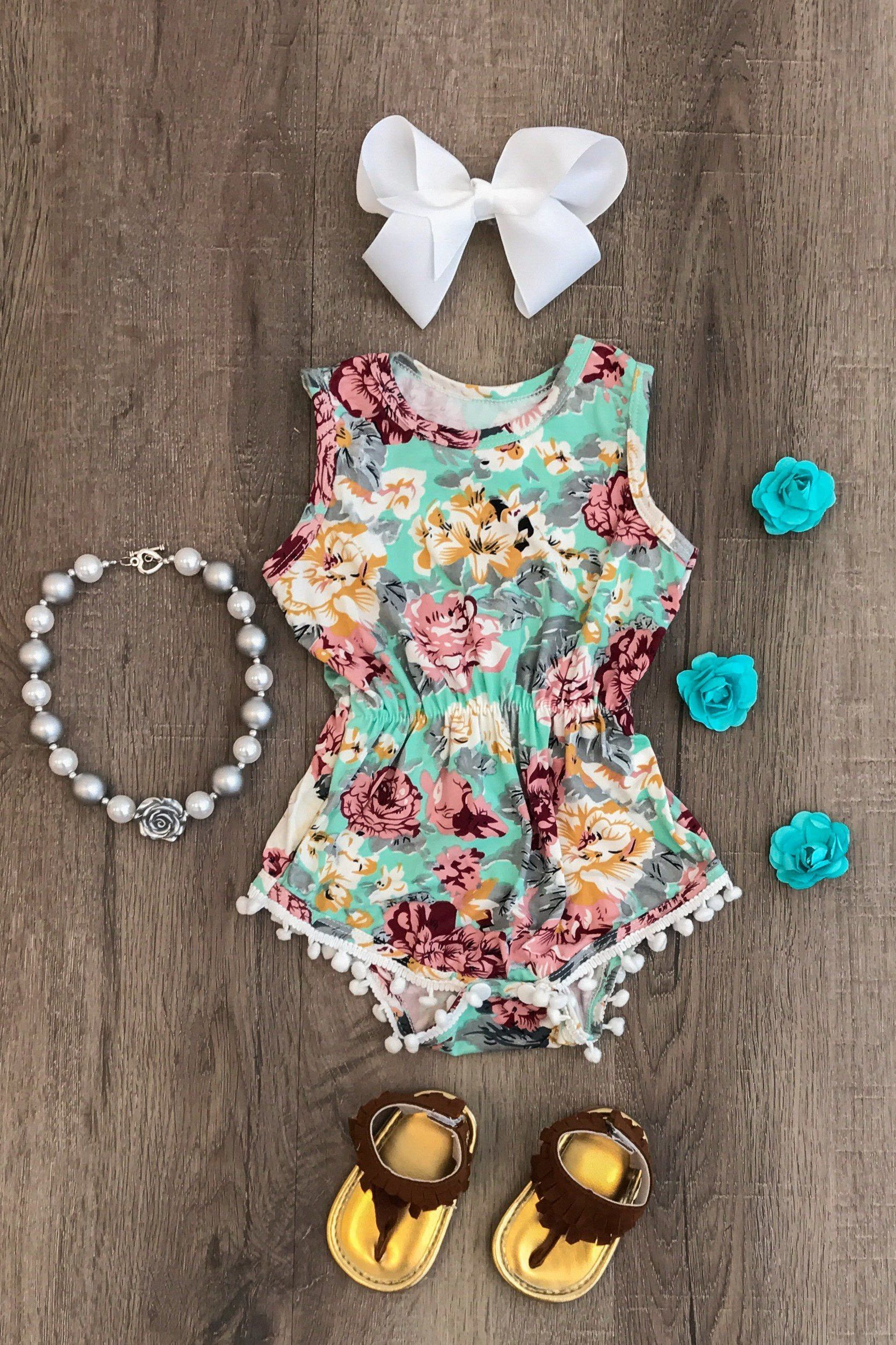 651bc9e034 THE SHAYLA FLORAL POM POM ROMPER | my sweet love | Baby kids clothes ...