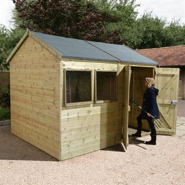 10x8 Ultimate Heavy Duty Reverse Apex Workshop Double Door Double Doors Shed Planed Timber