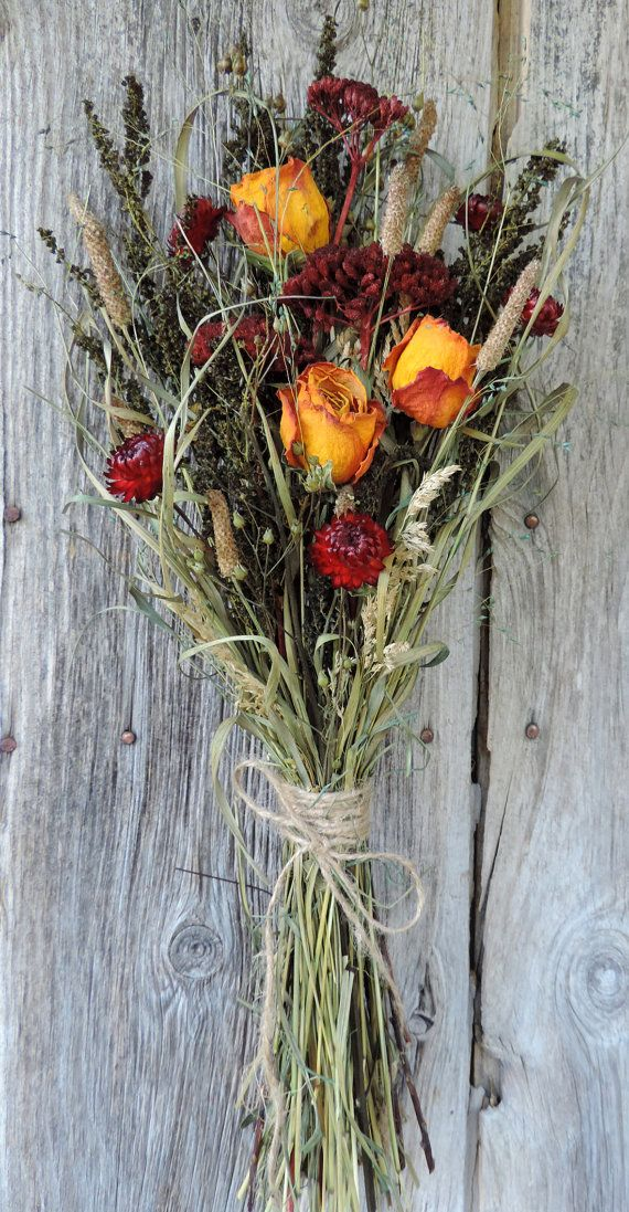 Dried Flower Bouquet Floral Arrangement Roses and Red Strawflowers ...