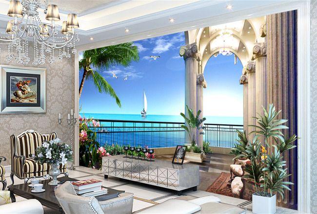 papier peint trompe l 39 il 3d paysage de la mer extension d 39 espace papier peint 3d papier. Black Bedroom Furniture Sets. Home Design Ideas
