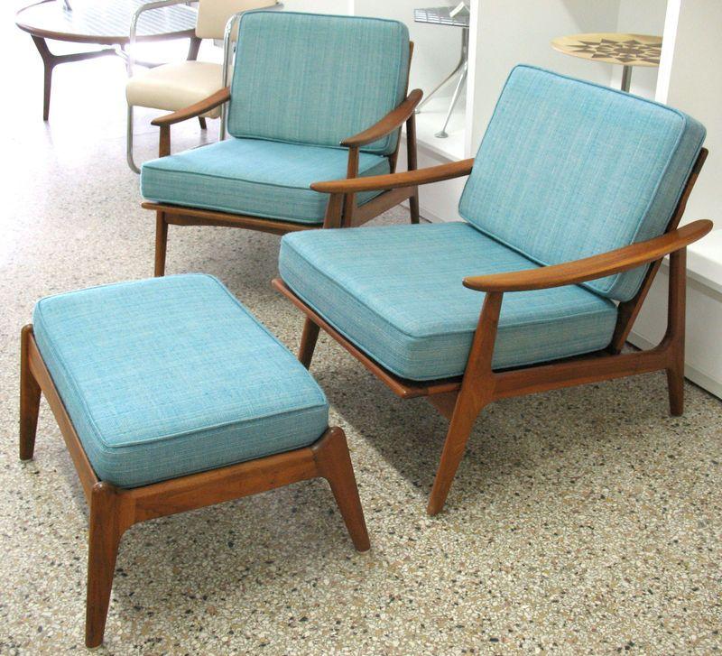 Danish Home Design Ideas: Vtg Danish Modern Lounge Chairs 2 And 1 Ottoman Midcentury