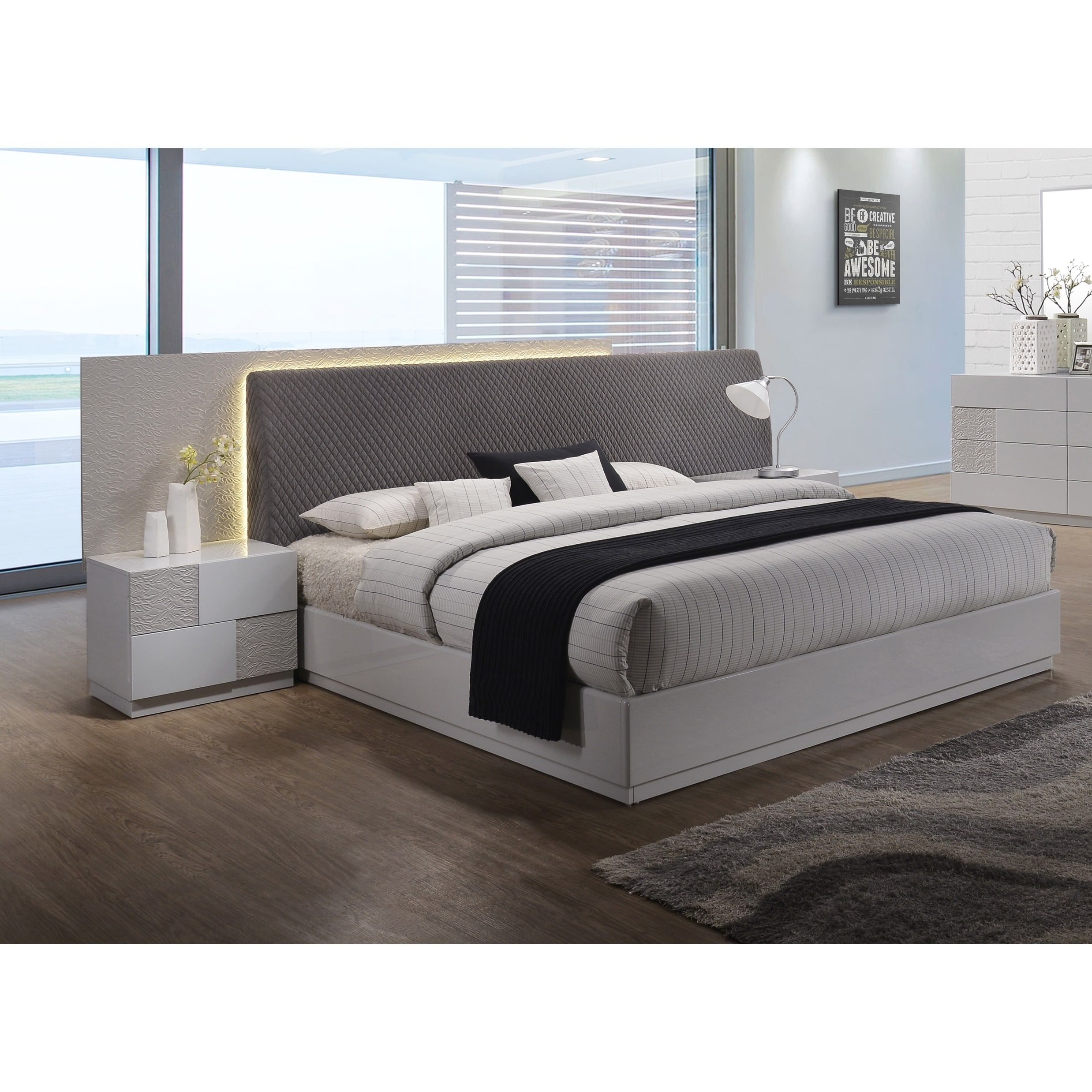 best master furniture naple silver line platform bed with led light