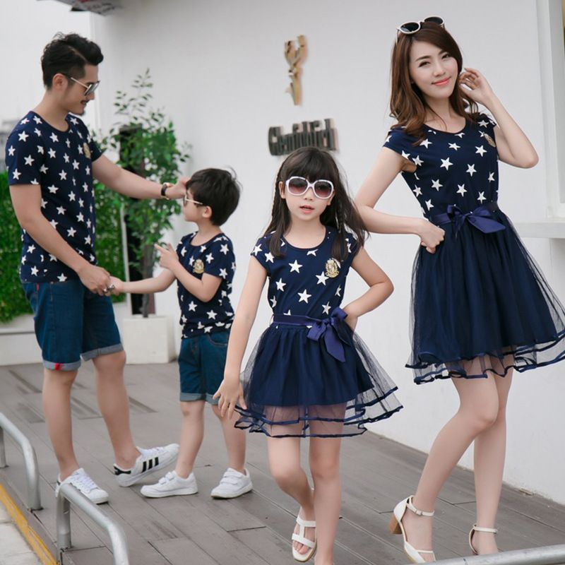US Mother and Daughter Clothes Dress Baby Girl Lace Skirt Family Matching Outfit
