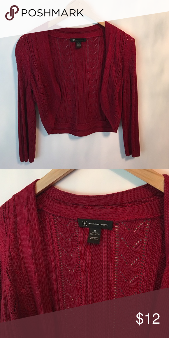 3/4 sleeve burgundy cardigan 3/4 sleeve knit burgundy cardigan INC size med. still looks new INC International Concepts Sweaters Cardigans