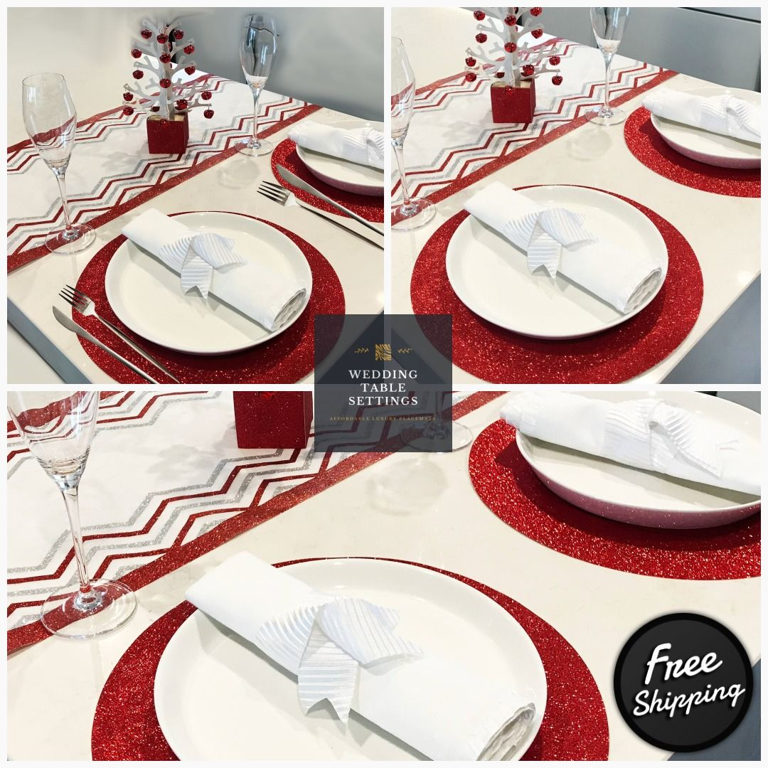 Wedding Charger Plates Wedding Placematsround Red Christmas Etsy Wedding Placemats Charger Plates Wedding Gold Table Setting